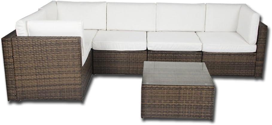 Dirty Pro Tools™ Conjunto de muebles de terraza o jardín con sofá de esquina, color beige: Amazon.es: Jardín