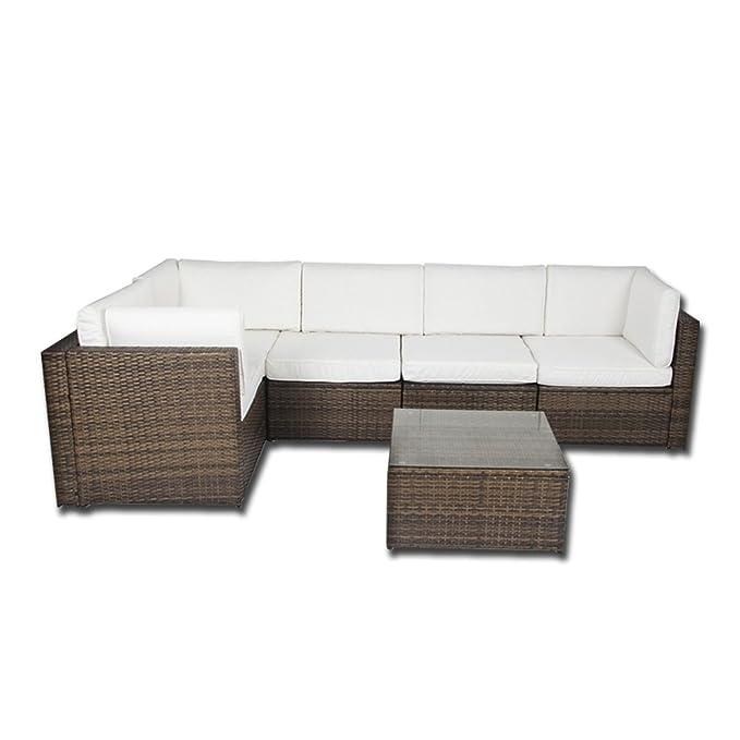 Forma de L esquina ratán muebles de jardín juego de sofá al aire ...