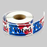 TUCO DEALS 2 x 1 Inch Rectangle - I Voted with Red, White, and Blue w/American Flag Stickers Labels (Red/Blue, 10 Rolls Per Pack)