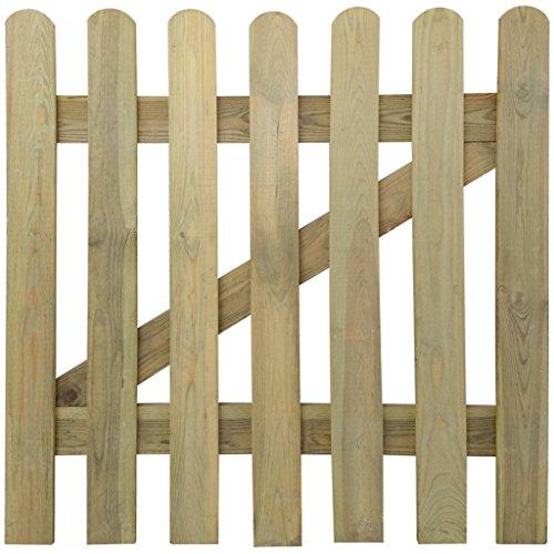 vidaXL Portillon en bois barrière décorative clôture de jardin Pin imprégné 100 x 100cm