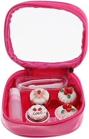 Perfeclan 可愛い ケーキ形 収納ボックス ジッパーポーチ コンタクトレンズケース コスメポーチ 多機能 全2色 - ローズレッド