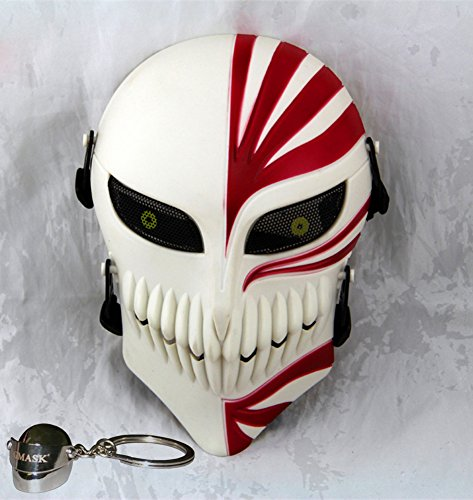 Gmasking Bleach Ichigo Kurosaki Airsoft Wire Mesh Paintball Mask Replica (White-Red) ()