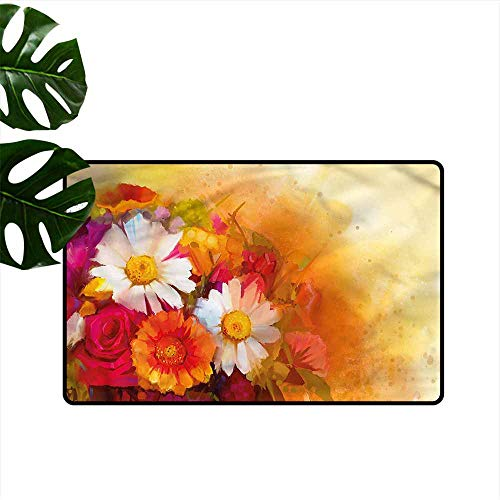 DUCKIL Printed Door mat Floral Roses Daisy Gerbera Bouquet Easy to Clean Carpet W16 xL24