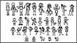 """stick figure decals - Nepa Designs 34 STICK FIGURE FAMILY Funny Vinyl Decal Sticker White In Color No Inks 100% Vinyl Range In Size From 4 """" High By 2 1/4 """" Wide and 2 """" High By 1 1/2 """" Wide"""