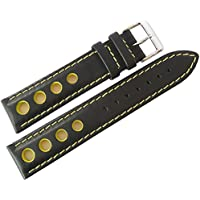 Eulit Racing 20mm Black Leather Yellow-Stitch Watch Strap