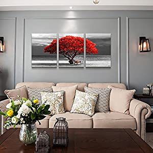 "Hyidecor Art 3 Piece Wall Art for Living Room Decorations Photo Prints - The red Tree The Scenery Landscape - Modern Home Decor The Room Stretched and Framed Ready to Hang Artwork - 16""x24""x3 Panels"
