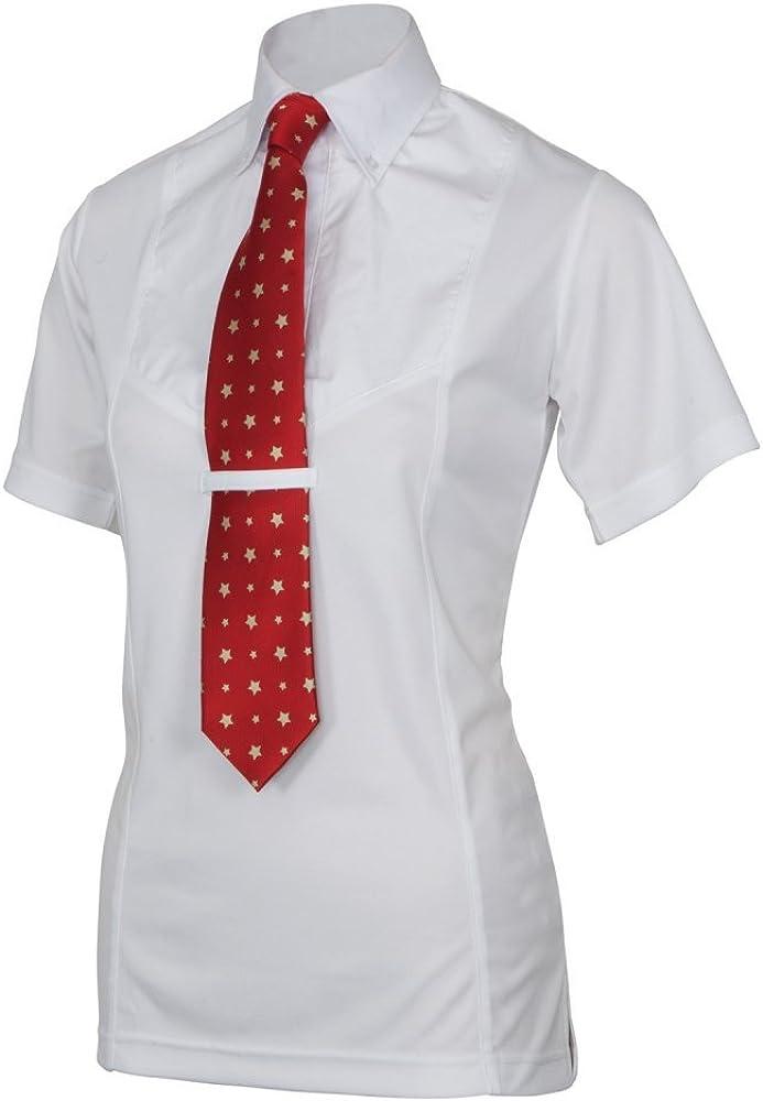 Shires - Camisa de manga corta con corbata de mujer para equitación
