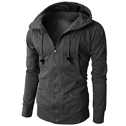 - Usstore   Fashion Mens' Autumn Winter Casual Long Sleeve Sport Zipper Solid Hoodie Pullover Blouse Tops (❤Dark Gray, L)