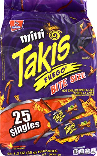 Barcel Mini Takis - Crunchy Rolled Tortilla Chips - Fuego Flavor (Hot Chili Pepper & Lime), 25 Individual Snack Packs (1.2 oz)