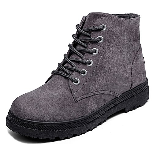 Eagsouni Lace-up Martin Boots, Womens Faux Fur Ankle Boots Ladies Warm Snow Boots Leather Booties Flat Cotton Shoes Size Unlined-grey