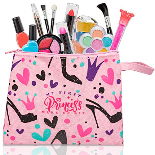 My First Princess Make Up Kit - 12 PC Kids Makeup Set - Washable Pretend Makeup for Girls - These Makeup Toys for Girls Include Everything Your Princess Needs to Play Dress Up - Comes With Stylish Bag ()
