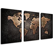 "Canvas Wall Art Vintage World Map Painting with Grunge Textures Black Background - 30"" x 20"" x 3 Pieces Large Canvas Art Old Map Picture Artwork Rustic Home Wall Decor"