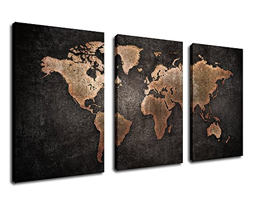 Canvas Wall Art Vintage World Map with Black Background - 3 Pieces 30