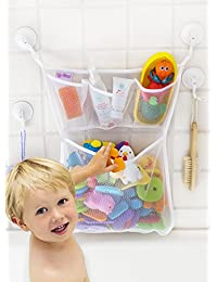 Tub Cubby Bath Toy Organizer - XL Baby Bath Toys Bin with 3 Extra Pockets for Soaps & Shampoos -4x Lock Tight Suction Hooks + 3M Stickers - Mold Resistant Quick Dry Mesh 100% Guaranteed BOBEBE Online Baby Store From New York to Miami and Los Angeles