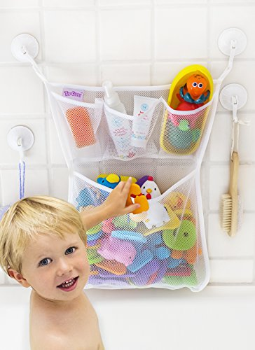 Tub Cubby Bath Toy Organizer - XL Baby Bath Toys Bin with 3 Extra Pockets for Soaps & Shampoos -4x Lock Tight Suction Hooks + 3M Stickers - Mold Resistant Quick Dry Mesh 100% (Monster High Rings)
