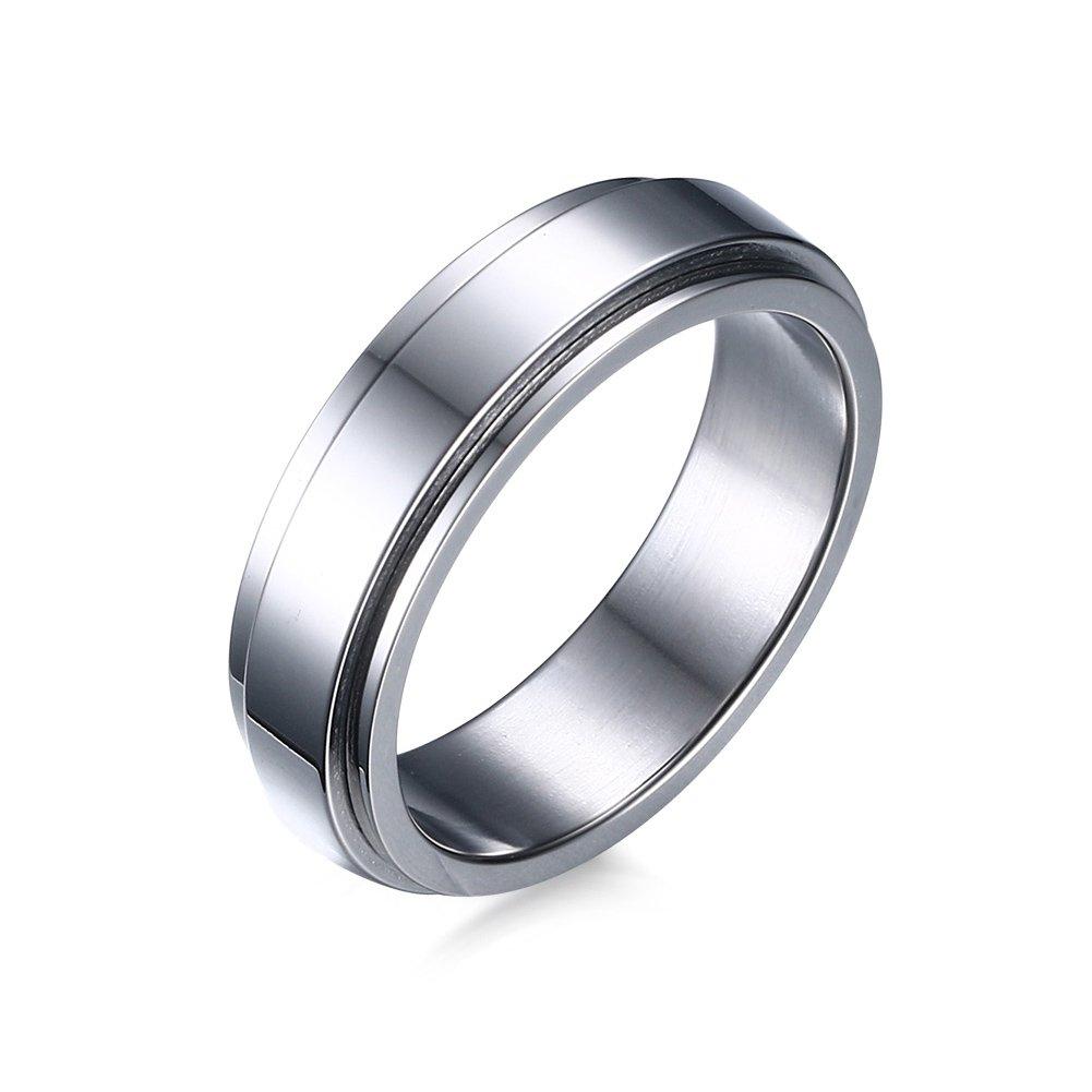 Heyrock 6mm Spinner Ring Men Jewelry Stainless Steel Double Loop Design Biker Band Rings HaoWorld