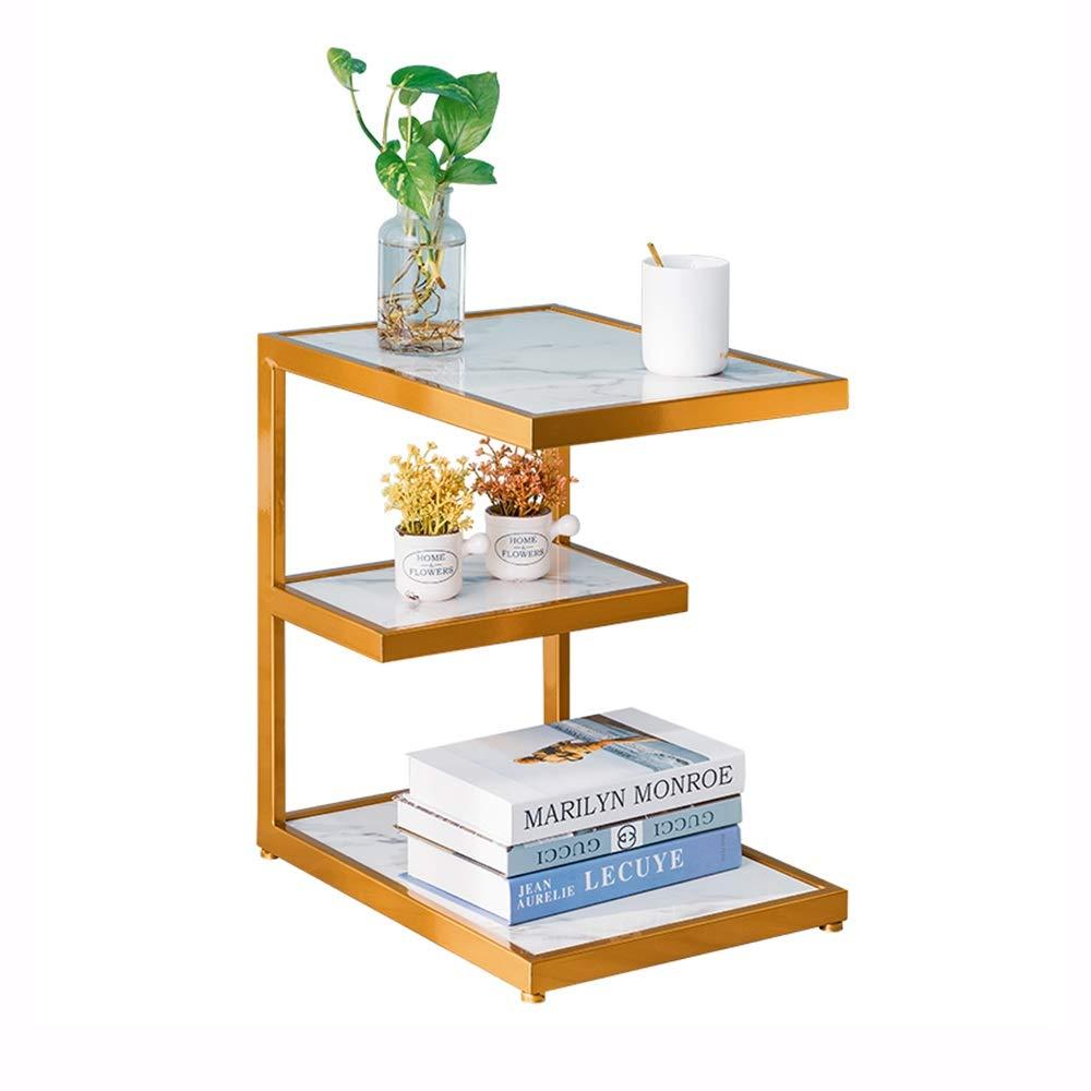 FEI C型サイドテーブルのラップトップスタンド大理石のコーヒーテーブルのリビングルームのソファーエンドテーブル3段棚付き金属フレーム (色 : ゴールド) B07QWLBKVD ゴールド