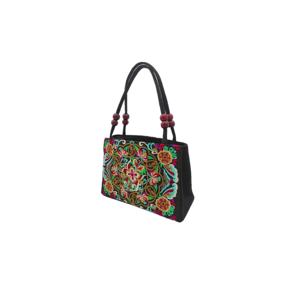 Embroidery Handbag Floral Embroidered Chinese Ethnic Shoulder Bag with 2 Layers for Women Girl (2 Layer Desgin Flower Handbag)