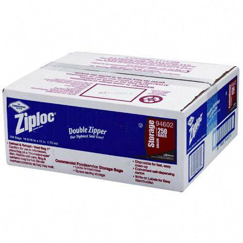 Ziploc Double Zipper Plastic Storage Bags, 1 Gallon, Case of 250 (DRA94602) Category: Ziploc and Plastic Bags