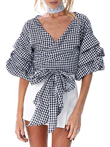 Plaid Ruffled Blouse (Simplee Apparel Women's Off Shoulder V Neck Wrap Blouse Shirt Waist Tie Plaid)