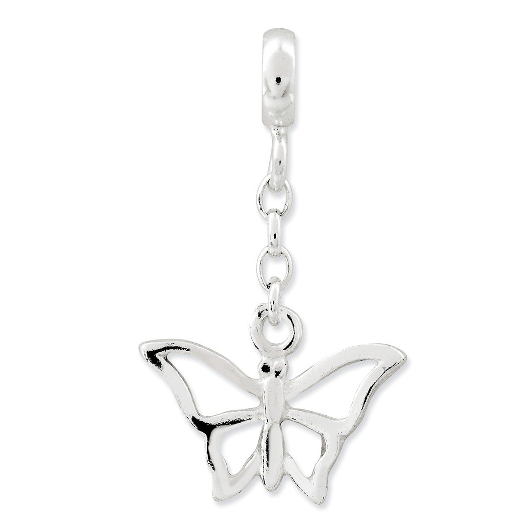 ICE CARATS 925 Sterling Silver Butterfly 1/2in Dangle Enhancer Necklace Pendant Charm Animal Fine Jewelry Ideal Gifts For Women Gift Set From Heart