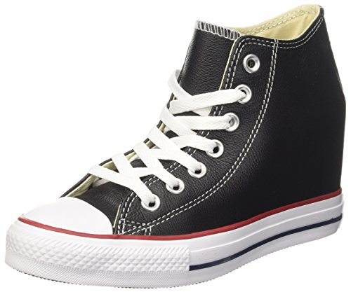 07eda99fa107 Galleon - Converse Chuck Taylor All Star Lux Mid Fashion Sneaker Wedge Shoe  - Black Black - Womens - 6.5