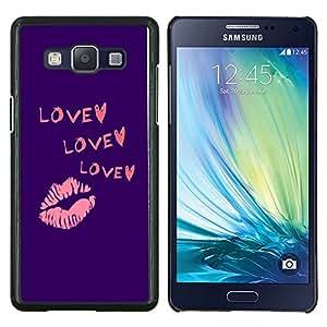 Eason Shop / Premium SLIM PC / Aliminium Casa Carcasa Funda Case Bandera Cover - Corazón púrpura del beso de los labios rosados ??de San Valentín - For Samsung Galaxy A5 ( A5000 ) 2014 Version
