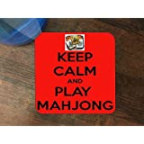 Keep Calm and Play Mahjong Silicone Drink Beverage Coaster 4 Pack by Debbie's Designs