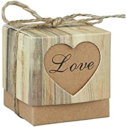 Fivejorya 50pcs Candy Boxes Love Rustic Kraft Bonbonniere Paper Gift Favor Box With 50pcs Burlap Jute Shabby Chic Vintage Twine Wedding Favor 5cm x 5cm x 5cm (2'' x 2'' x 2'')