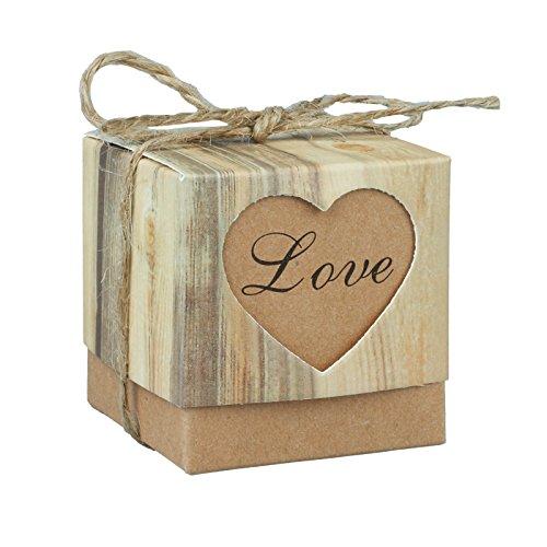 Fivejorya 50pcs Candy Boxes Love Rustic Kraft Bonbonniere Paper Gift Favor Box With 50pcs Burlap Jute Shabby Chic Vintage Twine Wedding Favor 5cm x 5cm x 5cm (2'' x 2'' x 2'')