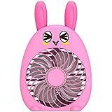Monique Cute Rabbit Portable Electric Fan Mini USB Rechargeable Strong Breeze Air Fan Pink