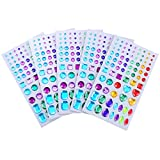 Outus Self-adhesive Rhinestone Sticker Bling Craft Jewels Crystal Gem Stickers, Assorted Size, 5 Sheets (Multicolor 2)