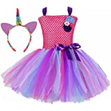 Tutu Dreams Surprise Girls Costume with Unicorn Headband Birthday Party Pageant (Hot Pink, X-Large)