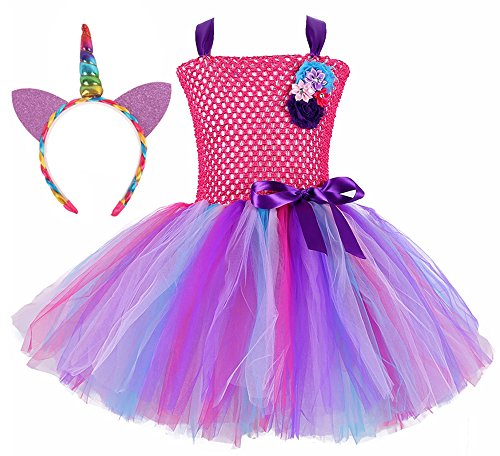 Tutu Dreams Unicorn Theme Birthday Costume for Toddler Girls with Unicorn Headband (Hot Pink, Small)
