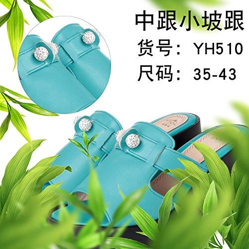 ZYUSHIZ Sandalen Hausschuhe Sommer Frau Outdoor minimalistischen Ding ziehen, Blau-grün 38EU