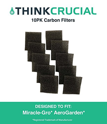 Aerogarden Replacement (10 Replacements for AeroGarden Sponge Filters Fit Miracle-Gro AeroGarden Pumps, Reduces Dirt & Debris in Pump, Increases Life of AeroGarden Pump, by Think Crucial)