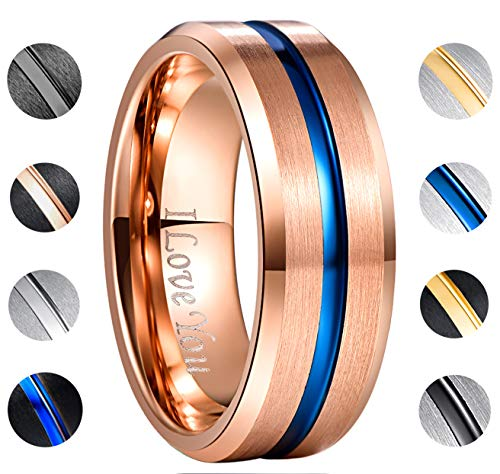 (NUNCAD Blue Line Tungsten Wedding Ring Rose Gold Plated High Polished Beveled Edges Size 9.5)