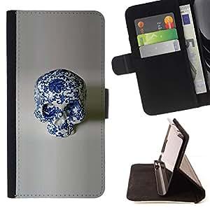 Momo Phone Case / Flip Funda de Cuero Case Cover - Diseño Porcelana Floral Blanco Cráneo - Samsung Galaxy J1 J100
