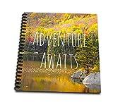 3dRose db_151389_3 Adventure Awaits Life Inspiring Motivational Words Autumn Forest Lake Photography Quotation Mini Notepad, 4″ x 4″