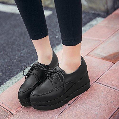 Latasa Womens Lace up Platform Oxford Shoes Black Nvn8PgTZa