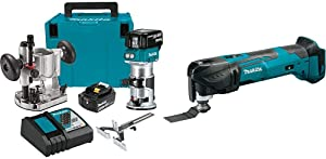 Makita XTR01T7 18V LXT Lithium-Ion Brushless Cordless Compact Router Kit with Makita XMT03Z 18V LXT Lithium-Ion Cordless Multi-Tool, Tool Only
