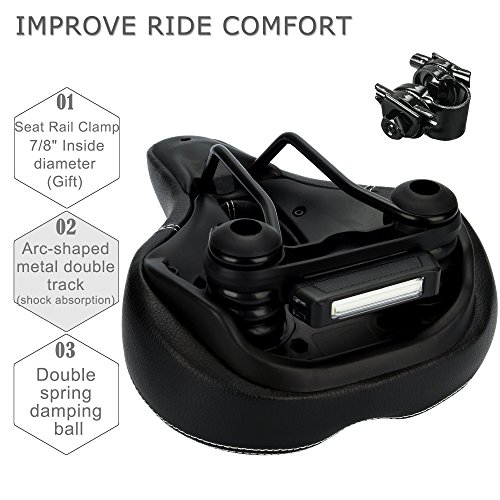 DAWAY C900 Bike Seat with Rechargeable Taillight - Men Women Foam Padded Leather Wide Bicycle Saddle Cushion, Comfortable, Waterproof, Dual Spring, Soft, Breathable, Universal, 1 Year Warranty, Black by DAWAY (Image #5)