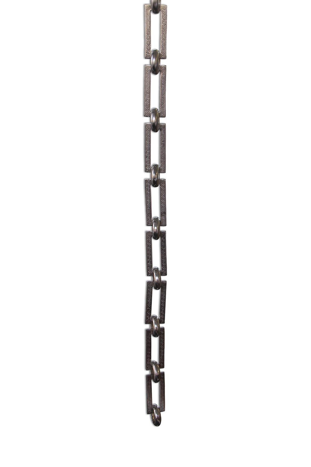 RCH Hardware Decorative Polished Nickel Solid Brass Chain for Hanging, Lighting - Rectangles with Greek Key Design and Unwelded Links (1 foot)
