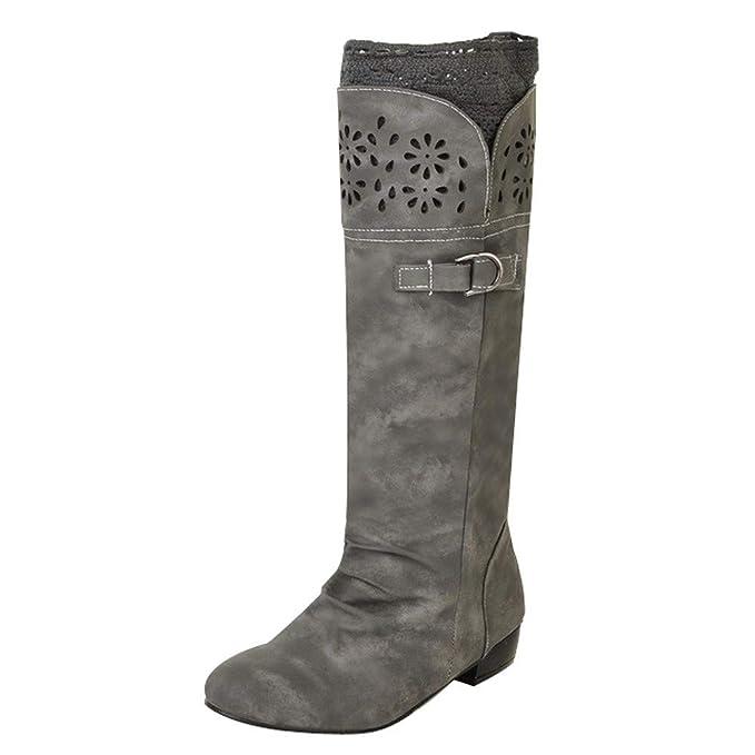 POLP Botas Planas Mujer Invierno Zapatos Elegante Respirable Bordado Zapatos  Moda Malla Alto Botas Botas de Agua de Trabajo Mujer Botas Altas De Rodilla  ... 4b231acbf894