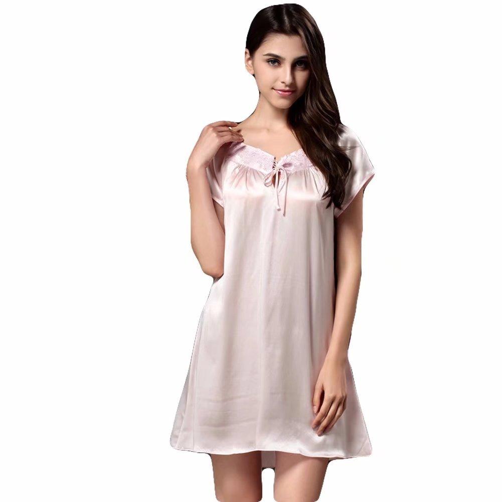 8b99f06b8fb Women s 100% Pure Luxury Mulberry Silk Sexy Night-Robe Summer New Dress  Sleepwear Pink at Amazon Women s Clothing store