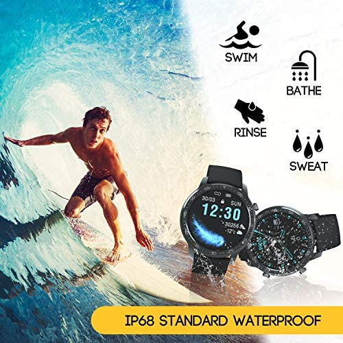 YIRSUR Smart Watch for Men, Support Wireless Charging & Always-on, HD Screen Fitness Tracker, IP68 Waterproof Heart Rate Recorder Step Counter, Message Reminder for Android/iOS Phones (Black) 51Aq2Y4mMmL
