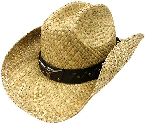 Simplicity Men / Women's Summer Woven Straw Cowboy Hat, 7612_Natural_Bull Band