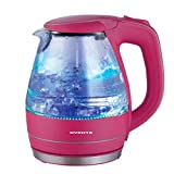 Ovente 1.5L BPA-Free Glass Electric Kettle, Fast Heating with Auto Shut-Off and Boil-Dry Protection, Cordless, LED Light Indicator, Pink (KG83P)