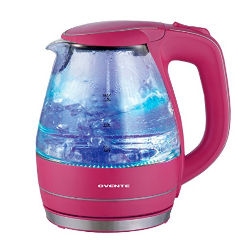 1.5 Liter BPA Free Glass Cordless Electric Kettle, Pink