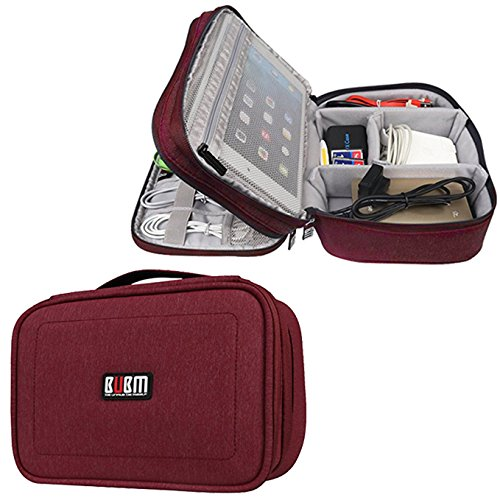 BUBM Electronic Organizer, Double Layer Travel Gadget Bag Accessories Storage Case for Cables, Cord, USB Flash Drive, Battery and More, A Net Zipper Pouch Fits for 7.9'' iPad Mini,Rose Red by BUBM